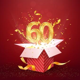 Sześćdziesiąt lat numer rocznicy i otwarte pudełko z wybuchami konfetti na białym tle element projektu