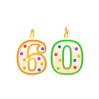 Sześćdziesiąt lat urodzinowa świeca urodzinowa w kształcie cyfry 60 z ogniem na białym tle