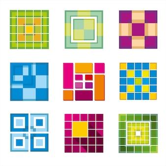 Sześcian geometryczny, kwadratowe kształty na logo. kwadratowe logo firmy, logo geometryczne, logo kostki abstrakcyjne, kwadratowy kształt sześcienny. ilustracji wektorowych