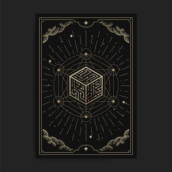Sześcian wszechświata, ilustracja karty z ezoterycznymi, boho, duchowymi, geometrycznymi, astrologicznymi, magicznymi motywami, dla karty czytnika tarota