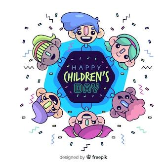 Sześciokąt dzieci dzień tło