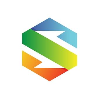 Sześciokąt logo wektor litery s