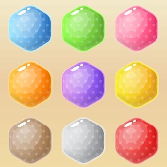 Sześciokąt wiele stylów w różnych kolorach.