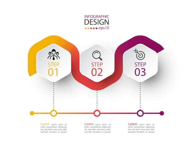 Sześciokątna etykieta z kolorową linią infografiki.
