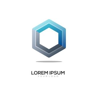 Sześciokątna kolorowa ilustracja logo