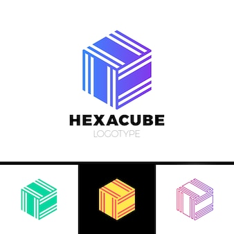 Sześciokątna kostka 3d logo grupy sektora
