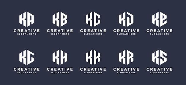 Sześciokątna litera k w połączeniu z innymi abstrakcyjnymi projektami logo.