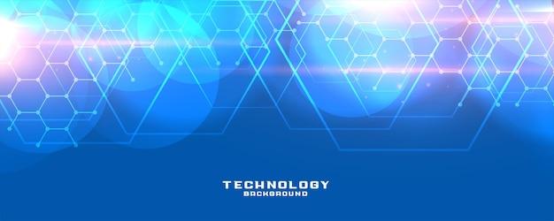 Sześciokątna niebieska technologia lub projekt banera medycznego