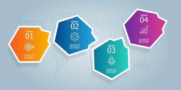 Sześciokątna oś czasu prezentacja elementu infografiki z ikoną biznesu 4 kroki wektor ilustracja tło
