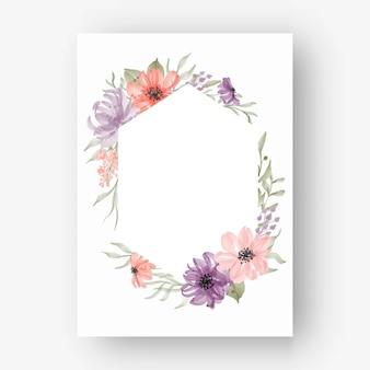 Sześciokątna rama kwiatowa z akwarelowymi kwiatami