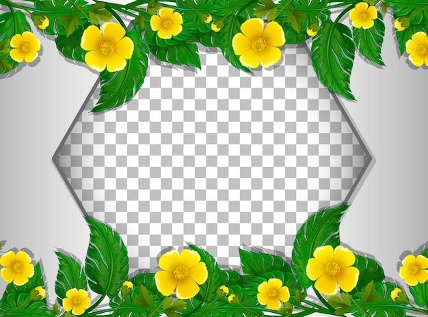 Sześciokątna ramka przezroczysta z szablonem pola żółtego kwiatu