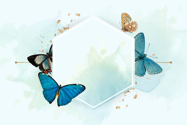 Sześciokątna ramka z niebieskim tle wzorzyste motyle