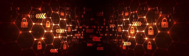 Sześciokątna siatka tło z ikoną kłódki. koncepcja sieci bezpieczeństwa i blockchain