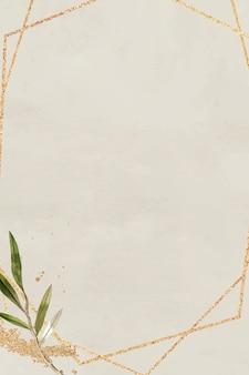 Sześciokątna złota rama z gałązką oliwną wektor wzór