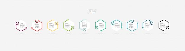 Sześciokątne banery do infografiki
