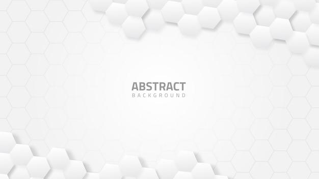 Sześciokątne białe tło geometryczne z kształtami sześciokątnymi w stylu technologii nauk medycznych