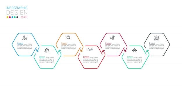 Sześciokątne infografje na wektorowej grafice.