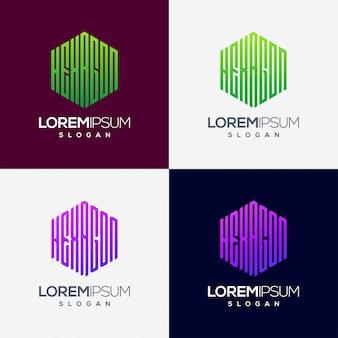 Sześciokątne kolorowe logo gradientu