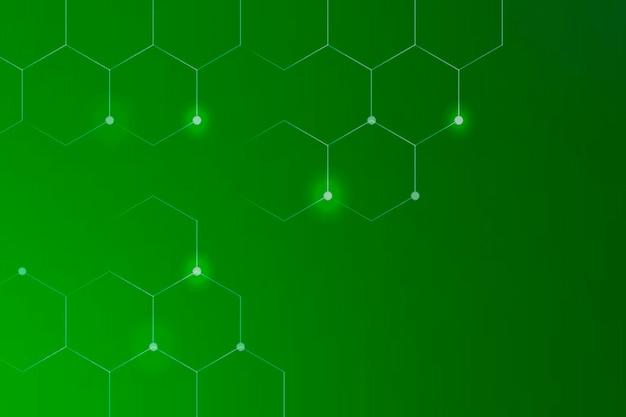 Sześciokątne kształty na zielonym tle