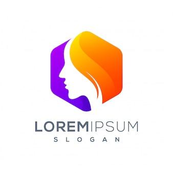 Sześciokątne logo kobiety gotowe do użycia