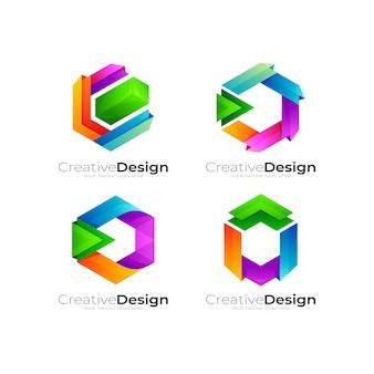 Sześciokątne logo kolorowe, logo w stylu 3d