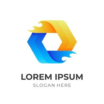 Sześciokątne logo ognia, sześciokąt i ogień, logo kombinowane w stylu 3d w kolorze niebiesko-żółtym