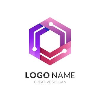 Sześciokątne logo tech, logo kombinacji sześciokąta i technologii z kolorowym stylem 3d