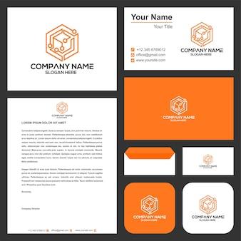 Sześciokątne logo technologii i wizytówka