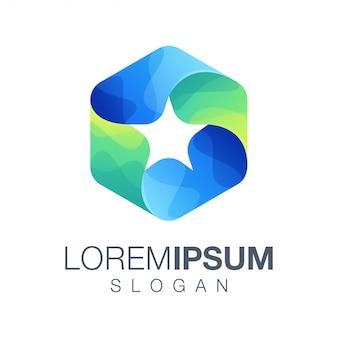 Sześciokątne logo w kolorze gradientu gwiazdy