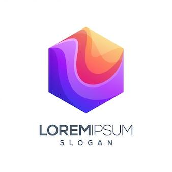 Sześciokątne logo w kolorze gradientu