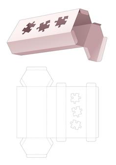 Sześciokątne pudełko kartonowe o wysokości z szablonem wycinanym z wyrzynarki