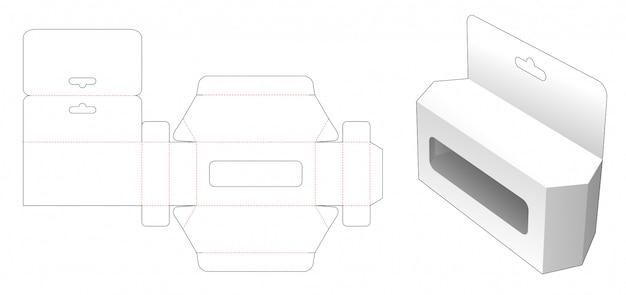 Sześciokątne pudełko na zabawki z otworem do zawieszania i szablonem wycinanym w oknie