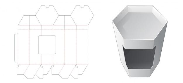 Sześciokątne pudełko z szablonem wycinanym w oknie