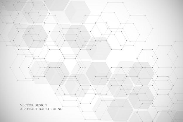 Sześciokątne tło struktury molekularnej dla technologii medycznej, naukowej i cyfrowej