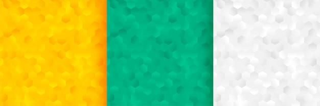 Sześciokątne wzory tła ustawione w trzech kolorach