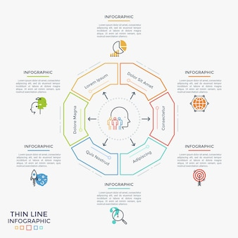 Sześciokątny diagram podzielony na 6 sektorów, płaskie symbole i miejsce na tekst. pojęcie sześciu cech zarządzania projektami. liniowy plansza projekt szablonu. ilustracja wektorowa do prezentacji.