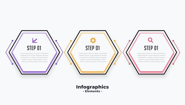Sześciokątny kształt trzy kroki nowoczesny szablon inforaficzny
