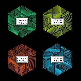 Sześciokątny kształt z abstrakcyjnym wzorem linii kolor element projektu wektor zestaw