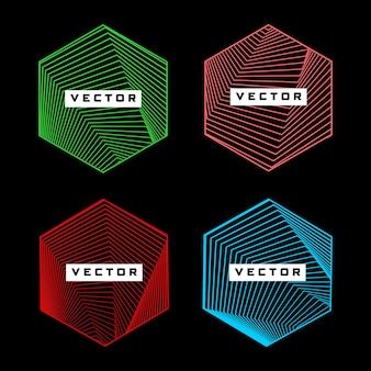 Sześciokątny kształt z geometrycznym wzorem linii wektor zestaw elementów projektu