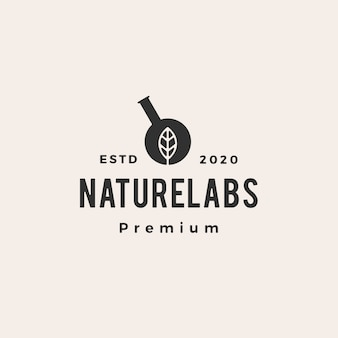 Sześciokątny liść laboratorium laboratorium hipster vintage logo ikona ilustracja