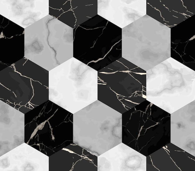 Sześciokątny marmurowy wzór powtórz powierzchnię marmurkową w paski