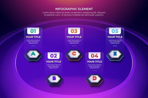 Sześciokątny model elementu infografiki 3d z 5 opcjami kolorów do prezentacji danych technologicznych
