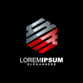 Sześciokątny początkowy szablon logo