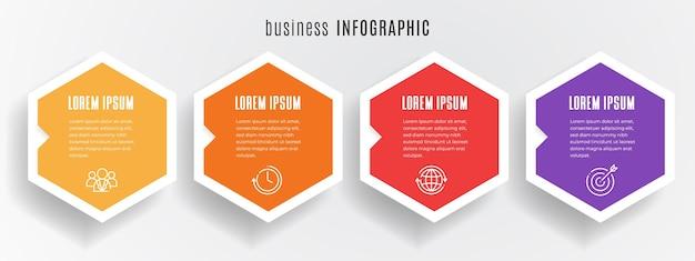 Sześciokątny szablon infografiki osi czasu 4 kroki