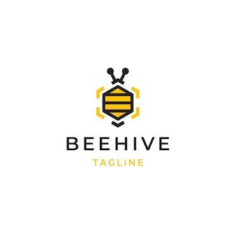Sześciokątny ula pszczół logo ikona projektowania szablonu ilustracji wektorowych