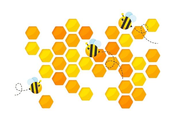Sześciokątny złoty żółty papier o strukturze plastra miodu pocięty pszczołami.