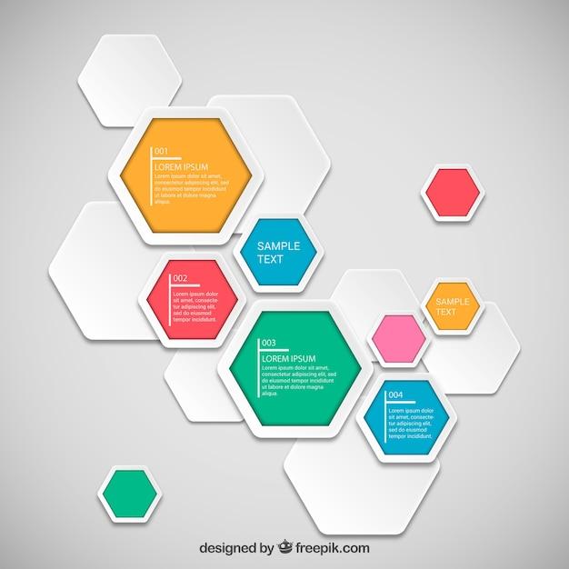 Sześciokąty infografika szablon