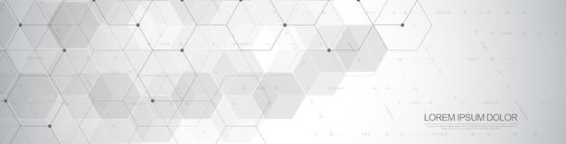 Sześciokąty wektor wzór. geometryczne abstrakcyjne tło z prostymi elementami sześciokątnymi. projektowanie medyczne, technologiczne lub naukowe.