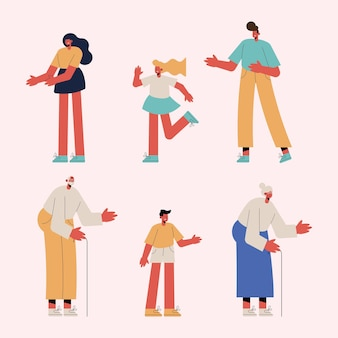 Sześciu członków rodziny grupuje postacie