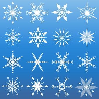 Szesnaście różnych wzorów płatków śniegu